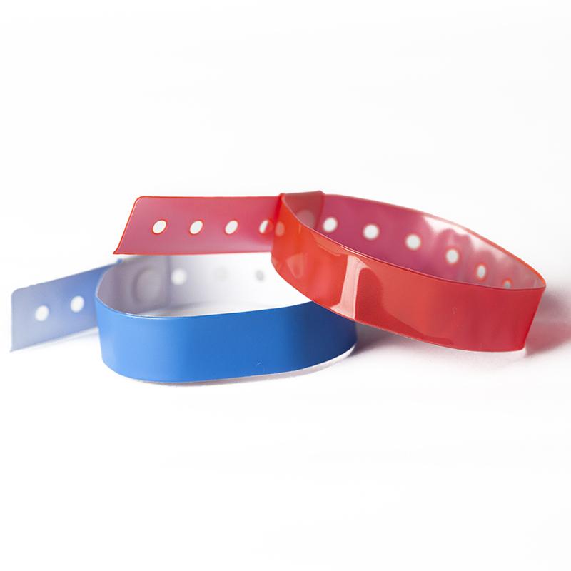 /Con Zona inscriptible Large bianco /Personalizzabile e impermeabile/ Confezione da 100/braccialetti plastica//Vinile per eventi/